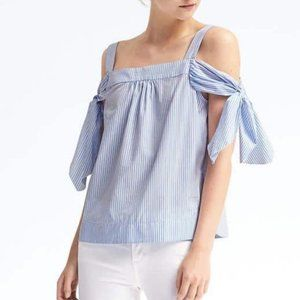 Banana Republic tie shoulder top blue stripe, S